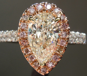 SOLD...Diamond Ring: 1.03ct K I1Pear Shape Diamond Halo Ring GIA R6147