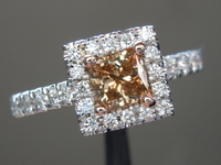 Brown Diamond Ring: .53ct Fancy Yellow Brown VS1 Princess Cut Diamond Halo Ring R6159