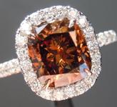 SOLD...Brown Diamond Ring: 2.24ct Fancy Deep Brown SI2 Cushion Cut Diamond Halo Ring R6146