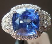 SOLD..........Sapphire Ring: 3.61ct Blue Cushion Cut Sapphire Three Stone Diamond Halo Ring R6116