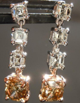 SOLD...Diamond Earrings: 1.05cts Fancy Deep Yellow Brown Cushion Cut Diamond Dangle Earrings R6040