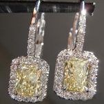 SOLD...Yellow Diamond Earrings: .95cts W-X VS2 Radiant Cut Diamond Halo Earrings R6072