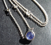 SOLD...Sapphire Necklace: .58ct Blue Round Brilliant Sapphire and Diamond Necklace R6161