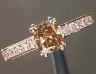 0.53ct Deep Orangy Brown VS2 Cushion Cut Diamond Ring R6167