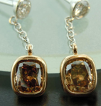 SOLD.....Brown Diamond Earrings: 1.39ctw Brown and Colorless Diamond Drop Earrings R6192