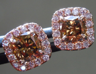 SOLD...Brown Diamond Earrings: 1.07cts Fancy Deep Orangy Brown Cushion Cut PINK Diamond Halo Earrings R6166