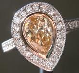 SOLD...Brown Diamond Ring: .73ct Fancy Light Yellow Brown VS2 Pear Shape Diamond Halo Ring R6136