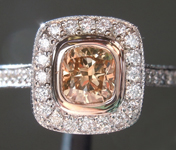 Brown Diamond Ring: .57ct Fancy Deep Yellow Brown VS2 Cushion Cut Diamond Halo Ring R6165