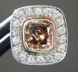 Diamond Pendant: .60ct Fancy Deep Yellow Brown SI1 Cushion Cut Diamond Halo Pendant R6162