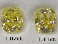 Yellow Diamond Earrings: 2.18cts Fancy Yellow Cushion Cut Diamond Earrings R6216