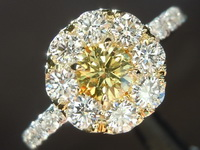 0.29ct Deep Yellow SI2 Round Brilliant Diamond Ring R6236