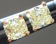 SOLD...Yellow Diamond Earrings: .82ctw Fancy Light Yellow VS Cushion Cut Diamond Stud Earrings R6220