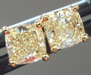 SOLD...Yellow Diamond Earrings: .75ctw Fancy Light Yellow VS Cushion Cut Diamond Stud Earrings R6221