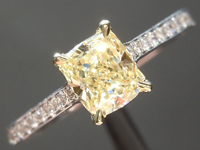 0.65ct Yellow VVS1 Cushion Cut Diamond Ring R6239