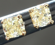 SOLD......Yellow Diamond Earrings: .46ctw Fancy Light Yellow VS Cushion Cut Diamond Stud Earrings R6219
