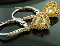 SOLD...Yellow Diamond Earrings: 1.02cts Fancy Yellow Pear Shape Diamond Dangle Earrings R6213