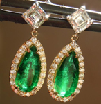 SOLD...Emerald Earrings: 2.00cts Pear Shape Emerald Diamond Dangle Earrings R6130