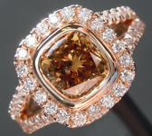 SOLD....Brown Diamond Ring: 1.53ct Fancy Deep Yellow Brown SI2 Cushion Cut Diamond Halo Ring R6197