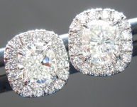 SOLD...Colorless Diamond Earrings: 1.00cts H VVS Cushion Cut Diamond Halo Earrings GIA R6267