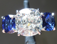 SOLD...Colorless Diamond Ring: 1.98ct J SI1 Cushion Cut Diamond and Sapphire Ring GIA R6284