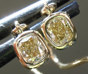 Yellow Diamond Earrings: .41cts Fancy Light Yellow Cushion Cut Diamond Dangle Earrings R6250