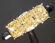 SOLD...Yellow Diamond Ring; 1.53ctw Fancy Yellow VS1 Cushion Cut Three Stone Diamond Ring R6256