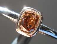 SOLD...Brown Diamond Ring: .37ct Fancy Yellowish Brown Cushion Cut SI1 Diamond Ring R6291