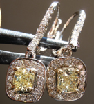 Yellow Diamond Earrings: .80cts Fancy Light Yellow VS Cushion Cut Diamond Dangle Earrings R6251