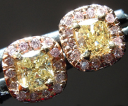 Diamond Earrings: .62cts Fancy Yellow VS Cushion Cut Diamond Halo Earrings R6260