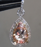 SOLD... Morganite Pendant: 2.20ct Pear Shape Morganite and Diamond Halo Pendant R6356
