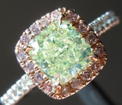 SOLD...Diamond Ring: 1.10ct Fancy Yellow Green SI2 Radiant Cut Diamond Halo Ring GIA R6464