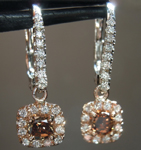 Diamond Earrings: .63cts Fancy Deep Brown Cushion Cut Diamond Dangle Earrings R6411