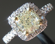 SOLD........Yellow Diamond Ring: 1.03ct U-V VVS2 Cushion Modified Brilliant Diamond Halo Ring GIA R6504