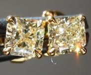 SOLD...Yellow Diamond Earrings: .88ctw Fancy Light Yellow VS2 Radiant Cut Diamond Stud Earrings R6529