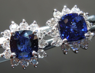 SOLD...Sapphire Earrings: 2.14cts Blue Cushion Cut Sapphire and Diamond Halo Earrings R6451