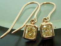 SOLD...Yellow Diamond Earrings: .88cts Y-Z VS Radiant Cut Diamond Earrings R6491
