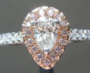 SOLD.....Diamond Ring: .42ct G SI2 Pear Brilliant Diamond Halo Ring GIA R6478