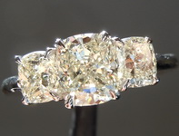 SOLD...Three Stone Diamond Ring: 1.27ct L VS1 Cushion Cut 1.15ct sides GIA R6547