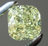 SOLD.......Loose Diamond: .63ct Fancy Greenish Yellow I1 Cushion Modified Brilliant Diamond GIA R6588