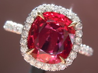 SOLD....Ruby Halo Diamond RIng: 2.29ct Cushion Cut Ruby with GRS Report Uber Halo R6462