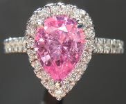 SOLD...Sapphire and Diamond Halo RIng:1.74ct Pink Pear Shape Sapphire BUBBLE GUM R6468