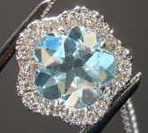 SOLD...Aquamarine Pendant: 1.55ct Flower Aquamarine and Diamond Halo Pendant R6564