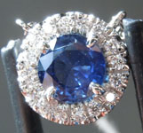SOLD...Sapphire Pendant: .87ct Round Blue Sapphire and Diamond Halo Pendant R6568