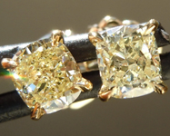 SOLD...Yellow Diamond Earrings: .82ctw Fancy Light Yellow VS Cushion Cut Diamond Stud Earrings R6530