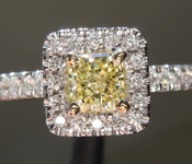 Yellow Diamond Ring: .45ct Fancy Yellow SI2 Radiant Cut Diamond Halo Ring GIA R6589
