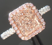 Pink Diamond Ring: 1.53ct Fancy Light Brown-Pink SI2 Radiant Cut Diamond Halo Ring GIA R6639