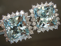 6.80cts Princess Cut Aquamarine Earrings R6511