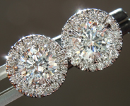 SOLD...Diamond Earrings: 1.19cts F-G I1 Round Brilliant Diamond Halo Earrings R6661