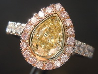 SOLD.....Yellow Diamond Ring: 1.00ct Fancy Light Yellow SI1 Pear Shape Pink Diamond Halo Ring GIA R6666