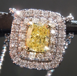 sold...Diamond Pendant: .48ct Fancy Intense Yellow Cushion Cut Diamond Halo Pendant GIA R6579